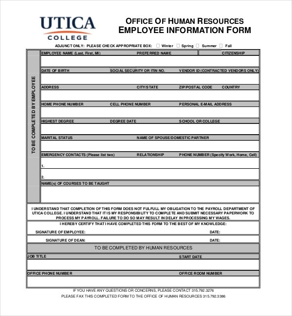 Sample Employee Information Forms  Sample Forms