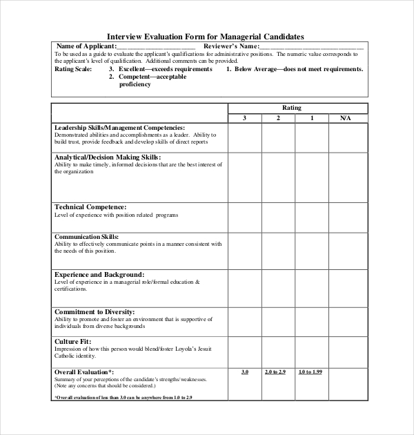 12 sample interview assessment forms sample forms for Leadership evaluation form templates