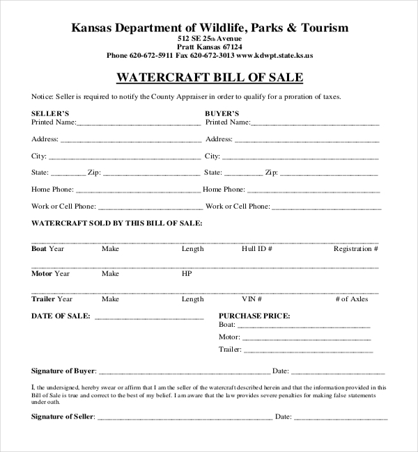 kansas boat bill of sale form