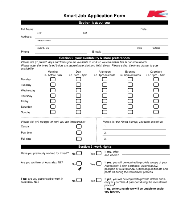 sample employment application forms 12 free documents in pdf doc