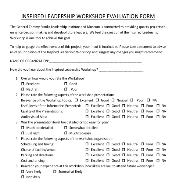 Sample workshop evaluation forms 15 free documents in for Leadership evaluation form templates