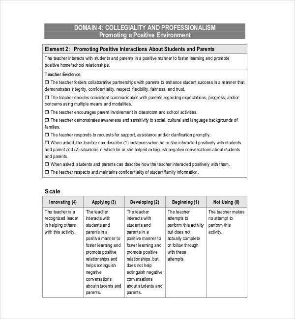 music teacher evaluation form
