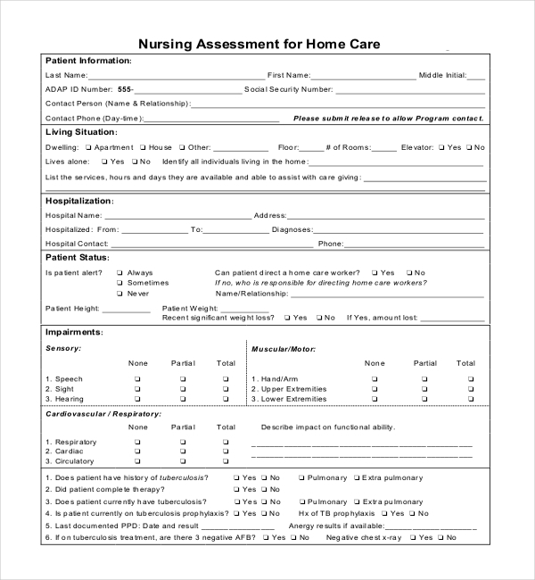 nursing assessment form for home care
