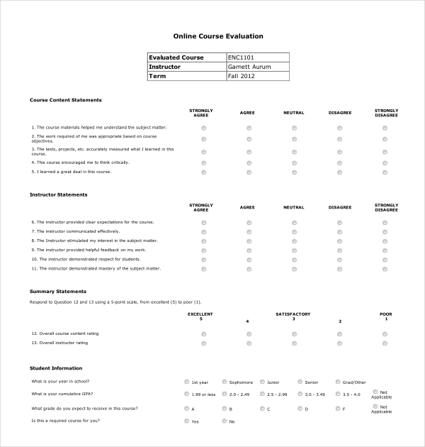 online course evaluation form