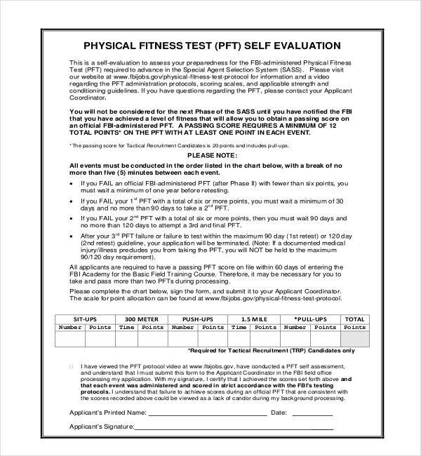 physical fitness test self evaluation