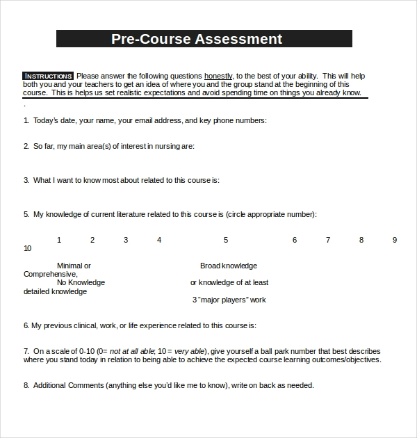 pre course evaluation form