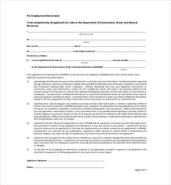 pre employment declaration