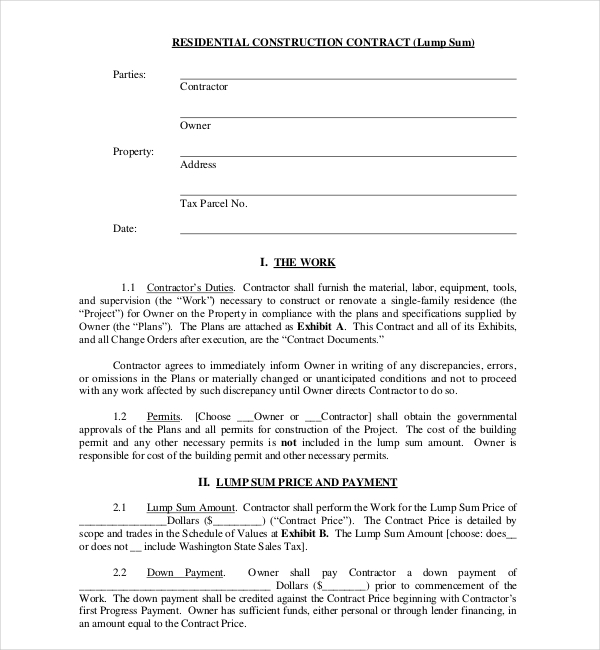 Residential Construction Contract Form  Construction Contract Template
