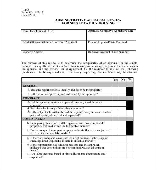 single family appraisal review form