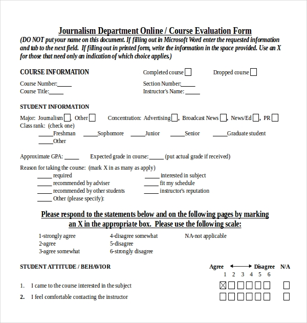 teacher course evaluation form