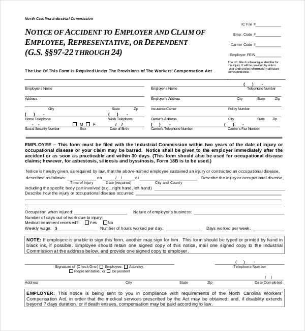 workers compensation form 18