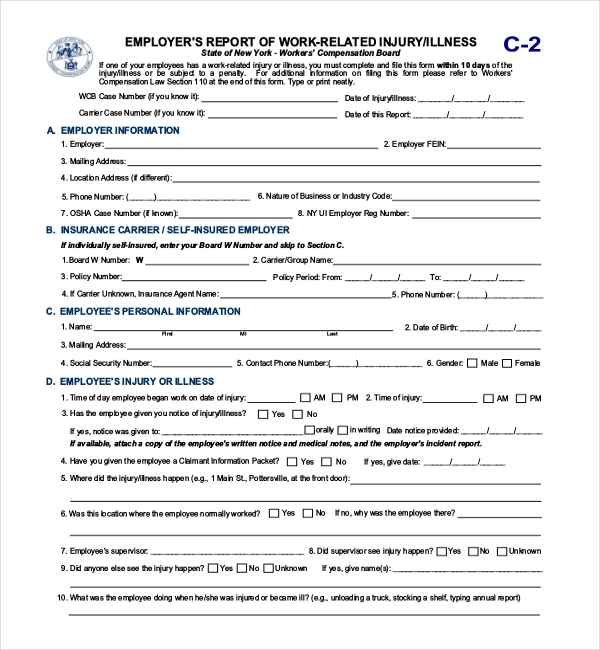 11+ Sample Workers Compensation Forms | Sample Forms