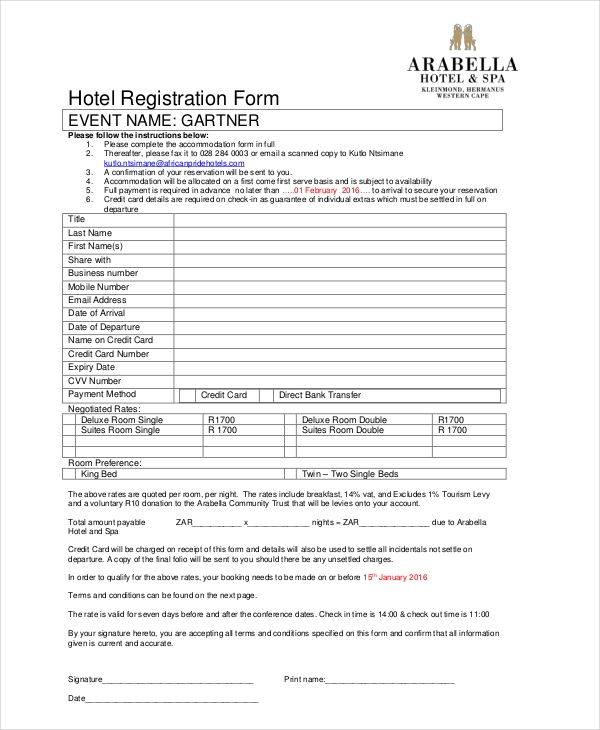 5 star hotel registration forma