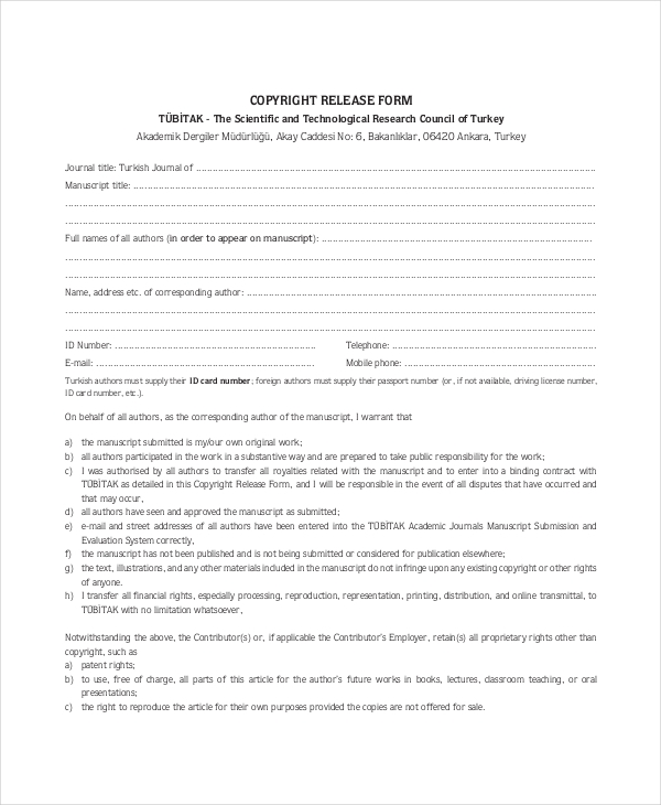 Sample Copyright Release Forms   Free Documents In Pdf Doc