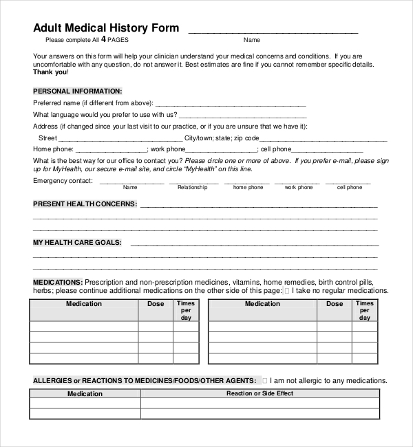 adult medical history form
