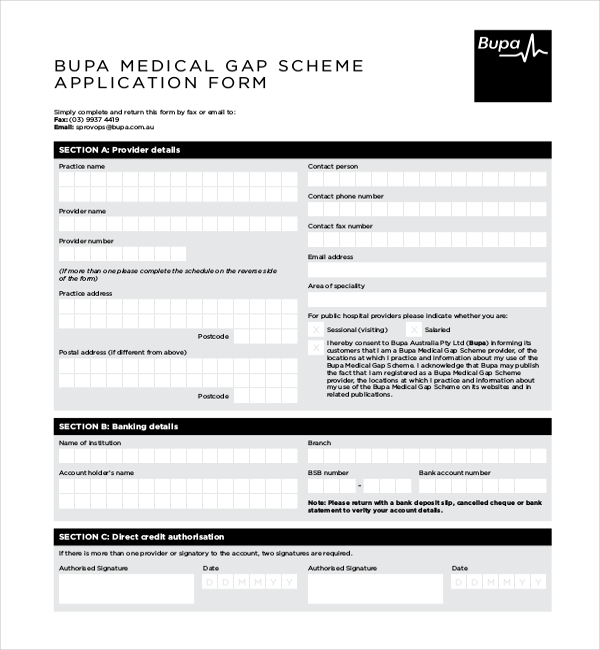 bupa medical gap scheme application form