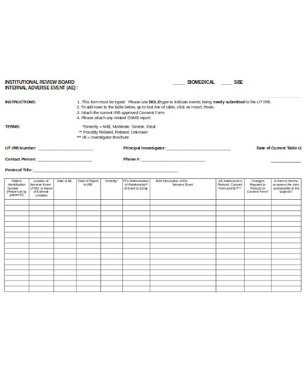 basic adverse event form