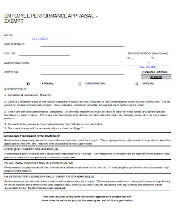 basic performance appraisal form