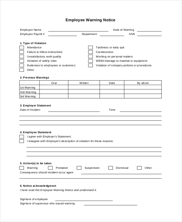 Sample Employee Warning Notice Forms  Sample Forms