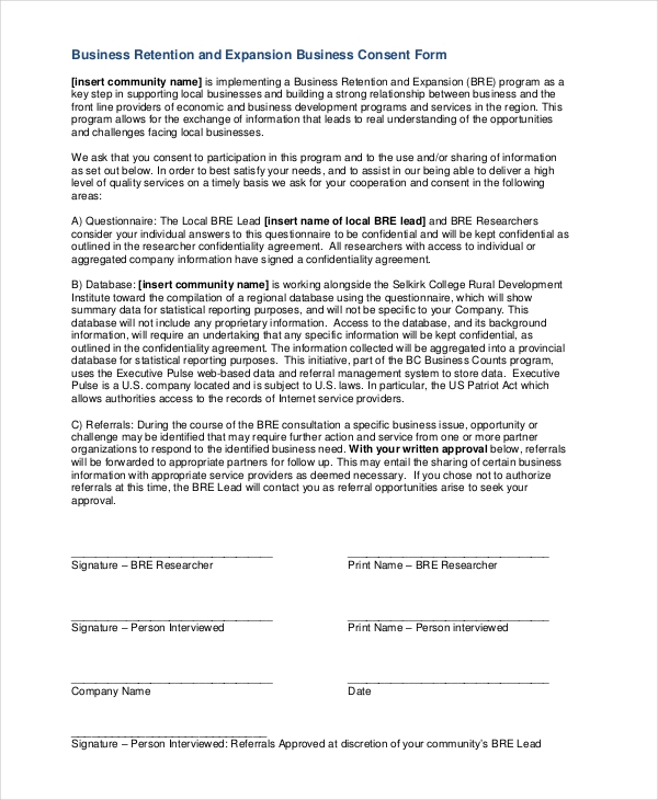 8 Sample Business Consent Forms – Research Consent Form Template