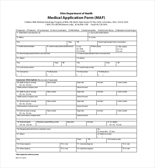 department of health medical application form