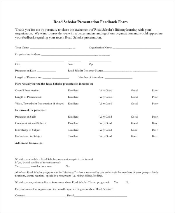 elderhostel presentation feedback form