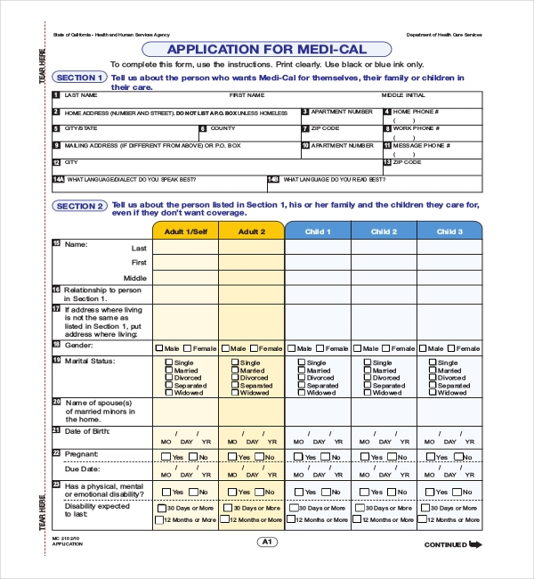 Family Medical Application Form