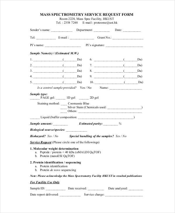mass spectrometry service request form