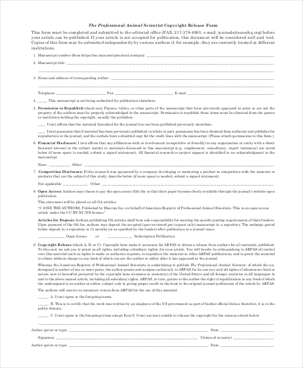 Sample Copyright Release Forms 7 Free Documents in PDF Doc – Work Release Form