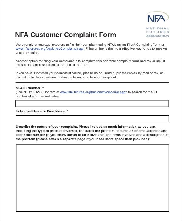 nfa customer complaint form