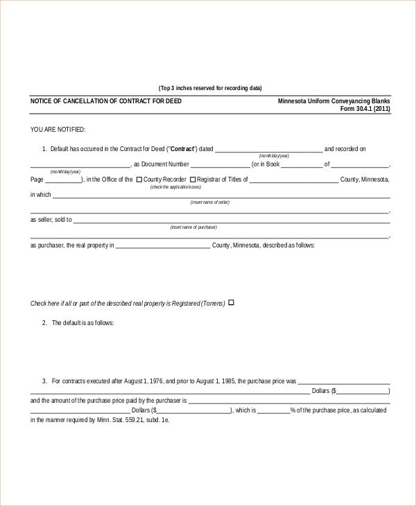 Sample Cancellation Of Contract Forms   Free Documents In Pdf Doc