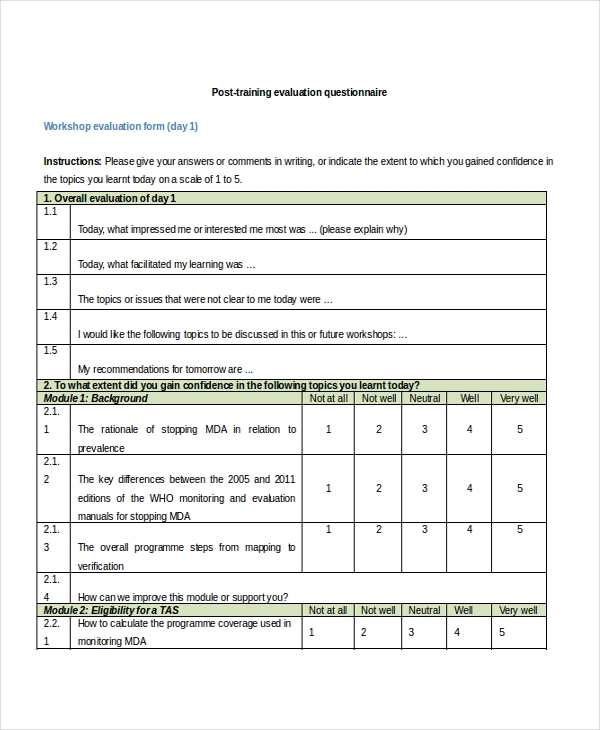 Sample Training Feedback Forms 16 Free Documents In Pdf Doc
