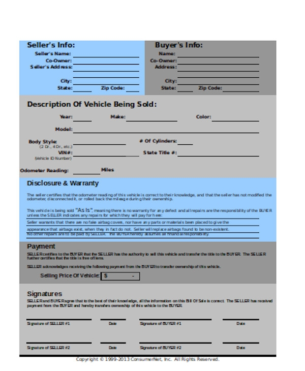 printable general bill of sale form