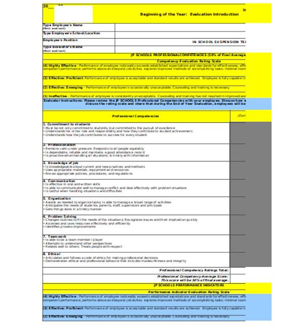 professional teacher evaluation form