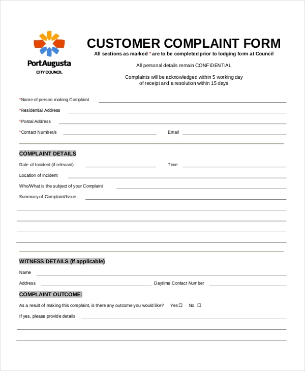 Delightful Sample Customer Complaint Form