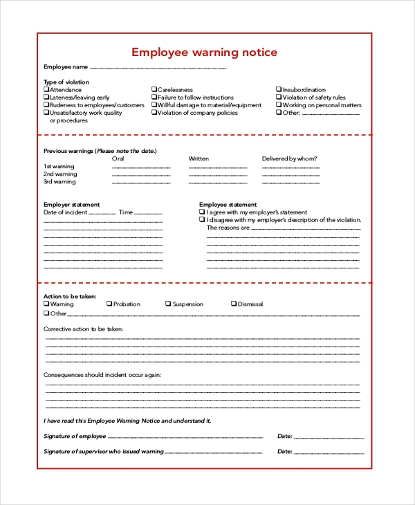 6+ Sample Employee Warning Notice Forms | Sample Forms