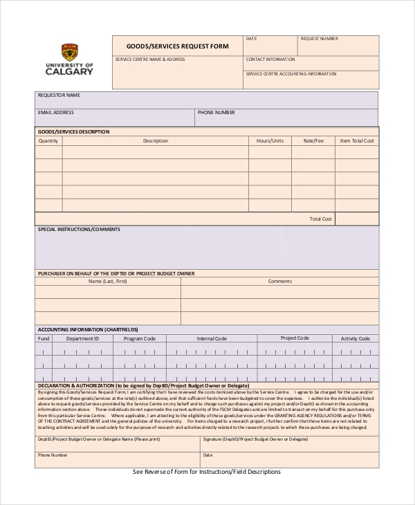 service form format