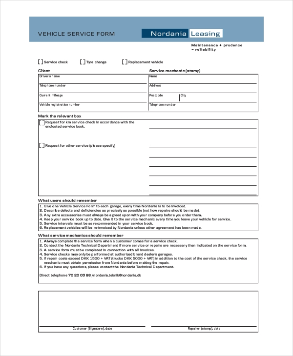 sample vehicel service form download