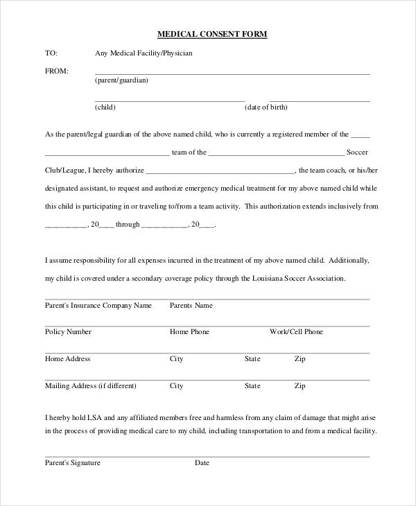 soccer medical consent form