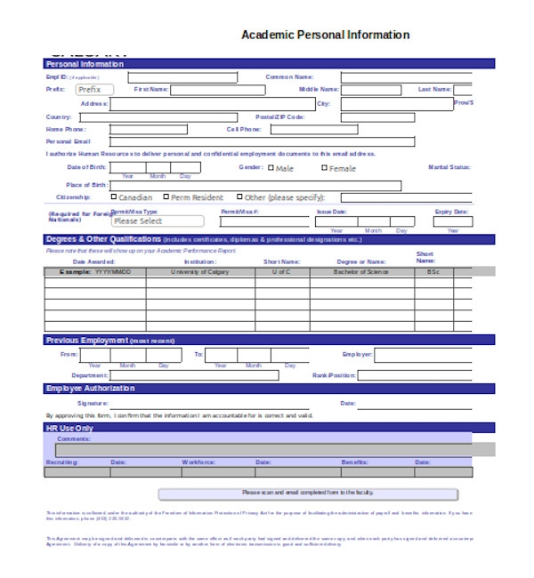 standard employee information form