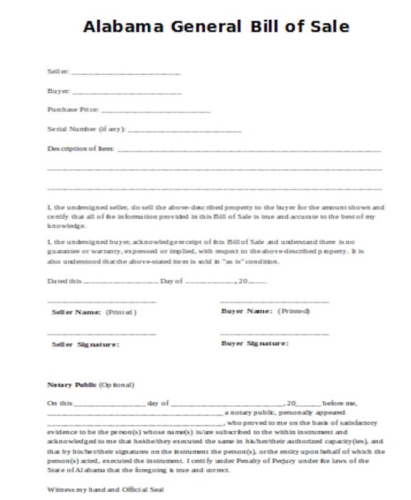 standard general bill of sale form