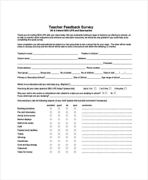 teacher feedback survey