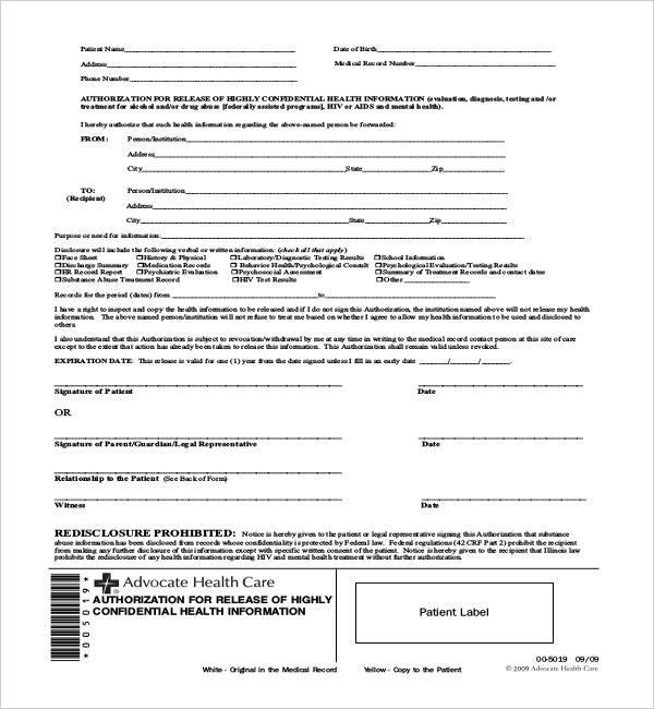 14+ Sample Medical Authorization Forms | Sample Forms