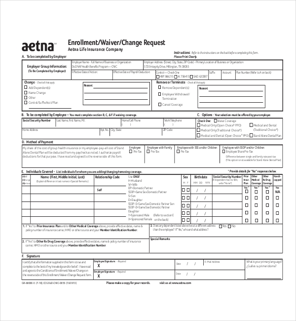 aetna medical waiver form