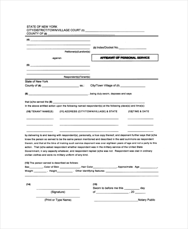 Sample Affidavit of Service Forms - 10 Free Documents in PDF, Doc