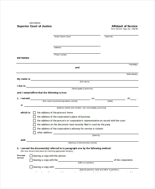 Affidavit Of Service Form 8a Fillable  Free Affidavit Form Template