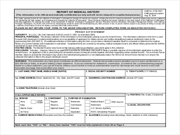 army medical history form