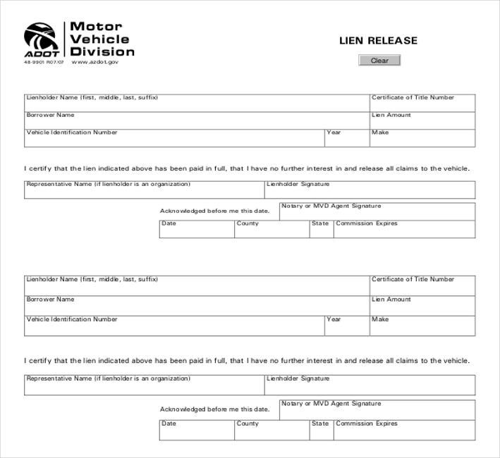 Release Of Lien Form » Free Release Forms