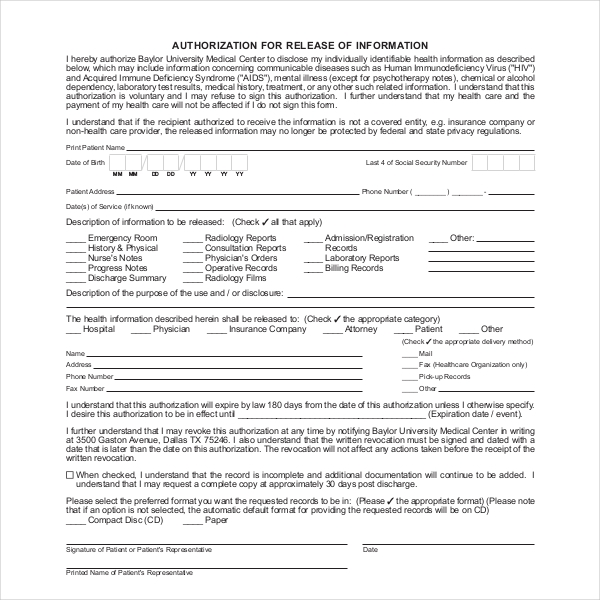 baylor medical records release form