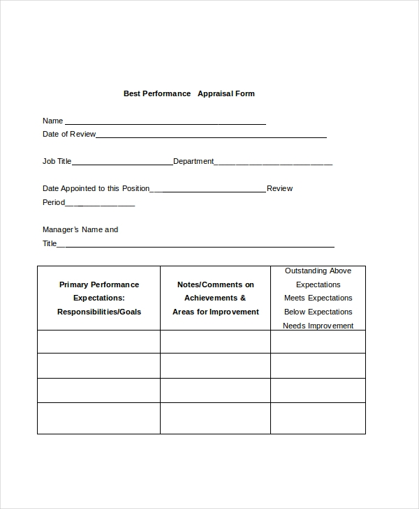 best performance appraisal form